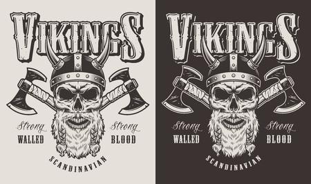 Camiseta estampada con cabeza vikinga Ilustración de vector