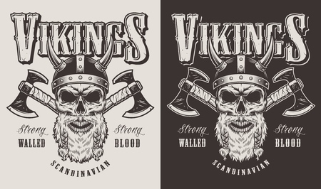 T-shirt print with viking head Illustration
