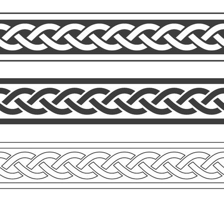 Conjunto de fronteras vikingas vintage, ilustración vectorial intage Ilustración de vector