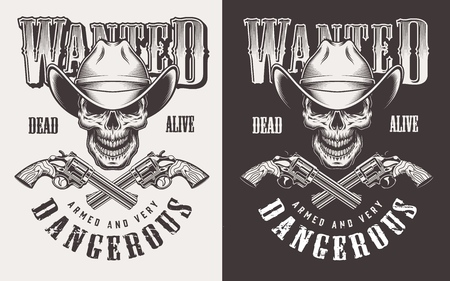 Wanted print with skull in vintage style Stock fotó - 106926815
