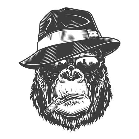 Gorillahoofd in zwart-wit stijl
