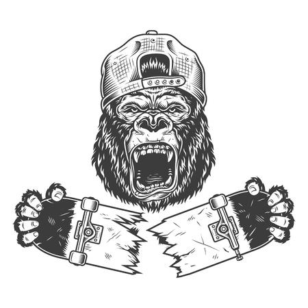 Monopatín agrietado gorila enojado