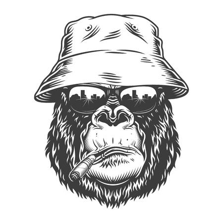 Gorilla head in monochrome style Illustration