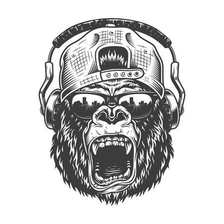 Visage de gorila hipster