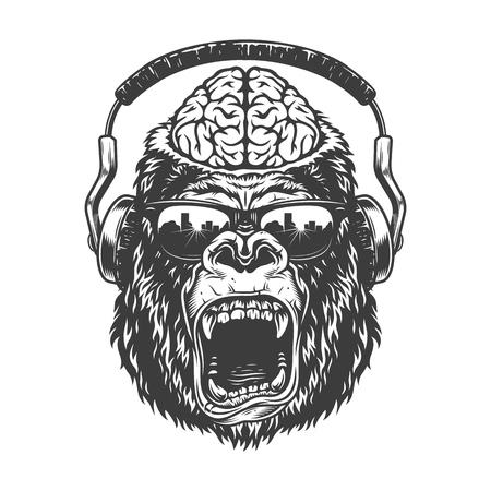 Vintage monochrome gorilla with headphones.
