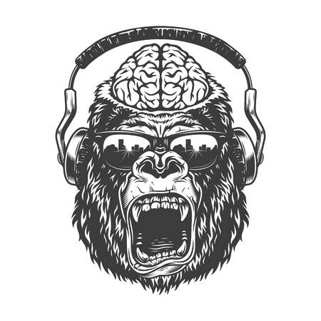 Vintage monochrome gorilla with headphones.