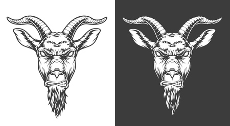Monochrome goat icon Vectores