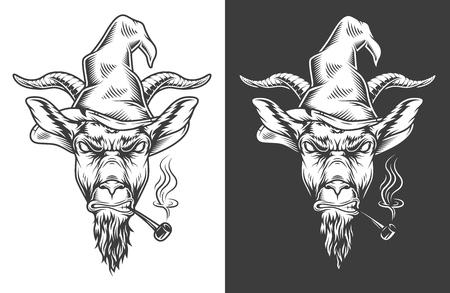 Monochrome goat icon Illustration