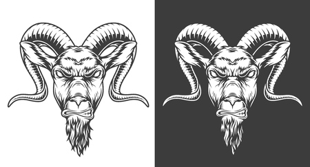 Monochrome goat icon Illustration