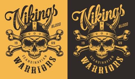 T-shirt print with viking head Иллюстрация