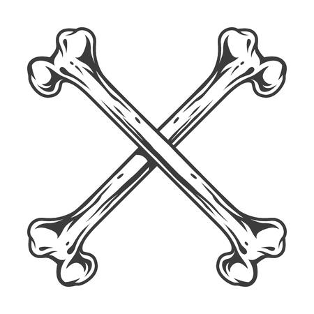 Crossed bones in the vintage style