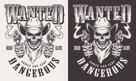Wanted print with skull in vintage style