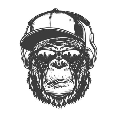 Gorilla head in monochrome style Vettoriali
