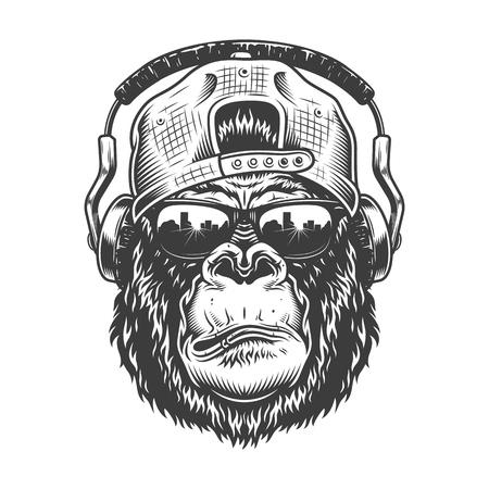 Gorilla head in monochrome style  イラスト・ベクター素材