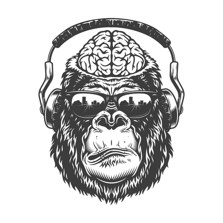 Gorilla head in monochrome style Stock Vector - 106926842