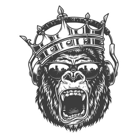 Cara de rey gorila Ilustración de vector