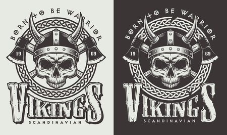 T-shirt print with viking head Stock Illustratie