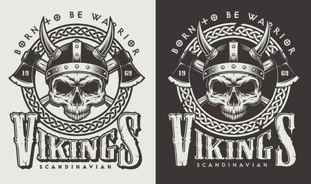 Camiseta estampada con cabeza vikinga