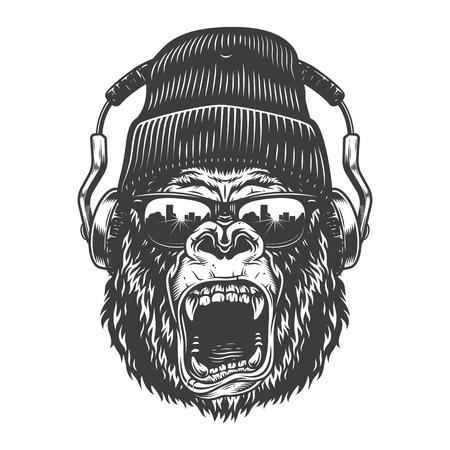 Visage de gorila hipster Vecteurs