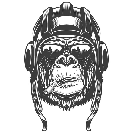 Gorilla head in monochrome style Illustration