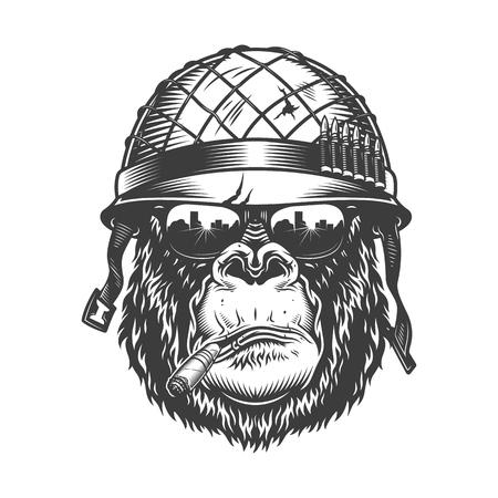 Testa di gorilla in stile monocromatico Vettoriali
