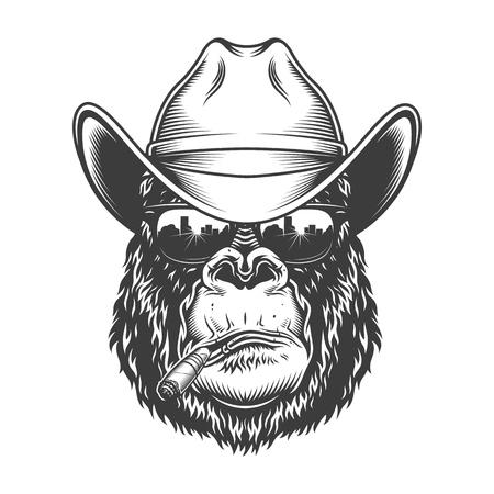Gorilla head in monochrome style 写真素材