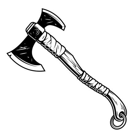 Fantasie krijger bijl geïsoleerd op wit in zwart-wit retro stijl. vector illustratie