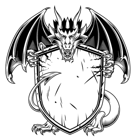 Fantasy dragon with warrior shield. Vector illustration