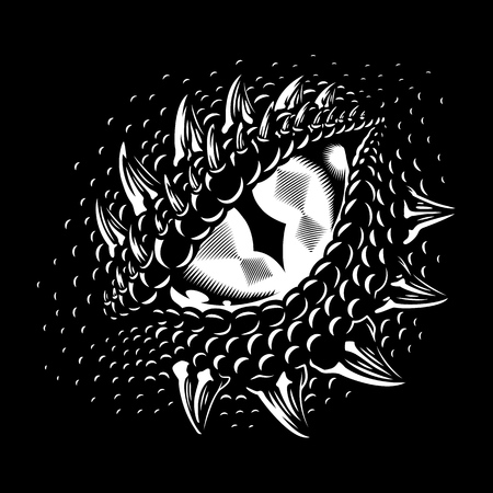 Monochrome dragon eye Stock Illustratie