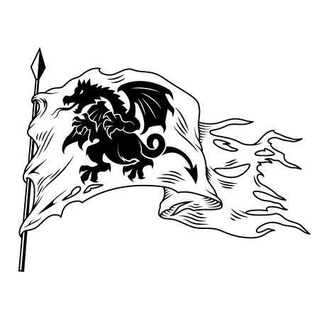 Drapeau monochrome avec dragon isolé sur blanc. Illustration vectorielle