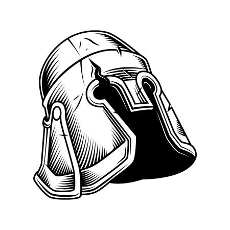 old vintage helmet isolated on white. Vector vintage illustration