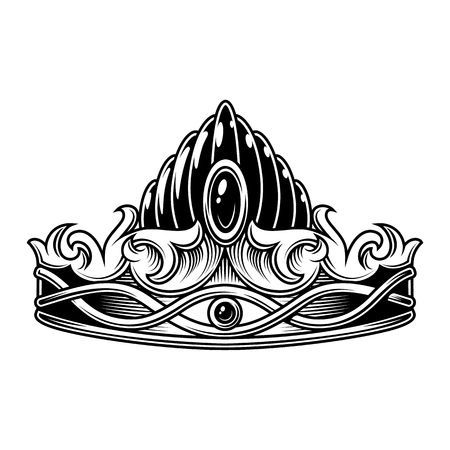 Monochrome vintage crown Stock Illustratie