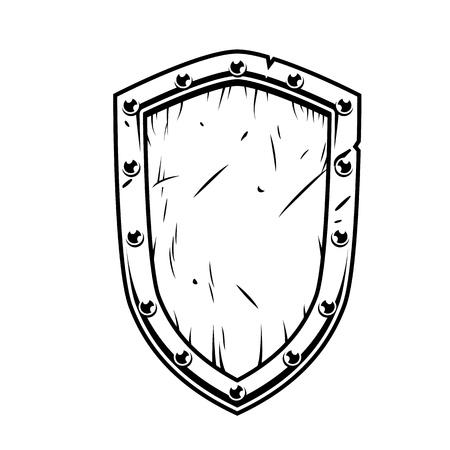 Escudo de madera de Guerrero de fantasía aislado en blanco en monocromo. Ilustración de la vendimia del vector.