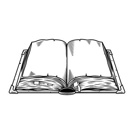 Oud uitstekend boek dat op wit wordt geïsoleerd. Vector illustratie