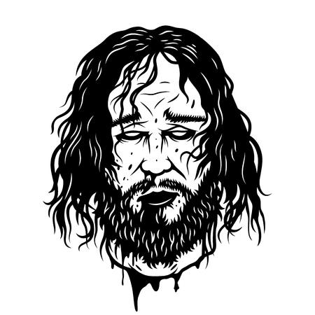 Cut warrior head isolated on white. Vector illustration Illustration