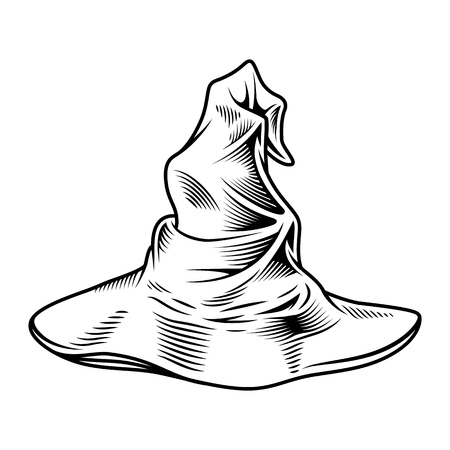 Wizard monochrome hat isolated on white. Vector illustration