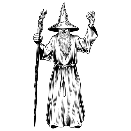 Fantasie tovenaar geïsoleerd op wit. vector illustratie