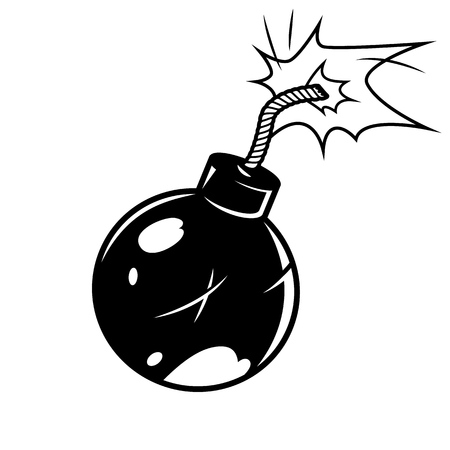 Bomb in comic style. Vector cartoon illustration Illustration