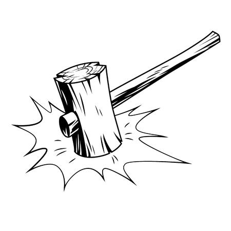 hammer in comic style. Vector cartoon illustration