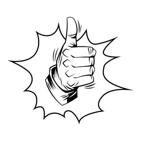 Pulgar hacia arriba signo en estilo cómic. Ilustración de dibujos animados de vector Ilustración de vector