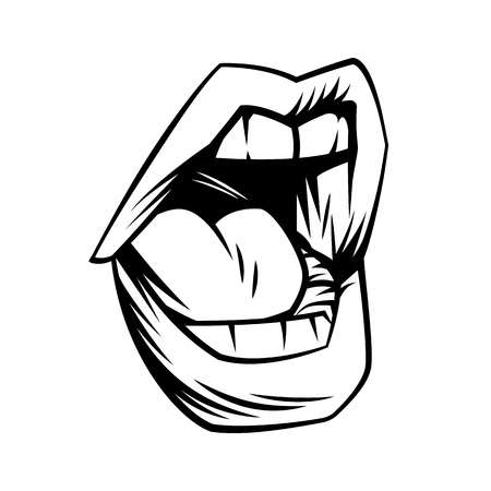 Open mouth in comic style. Vector cartoon illustration