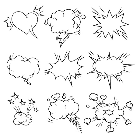 Comic bubbles set isolated on white. Vector illustration