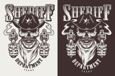 Monochrome vintage emblems with sheriff concept. Vector retro illustration