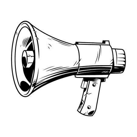Luidspreker in komische stijl. Vintage vectorillustratie
