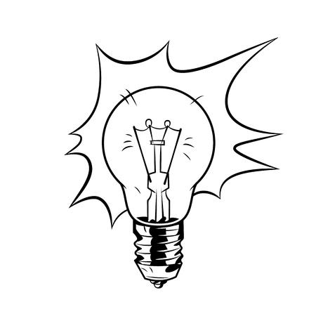 Bulb in comic cartoon style. Vector vintage illustration