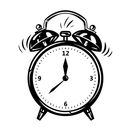 Alarm clock in comic style. Vector vintage illustration