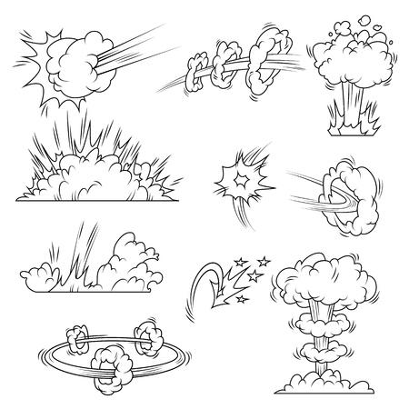 Set of explosion bubbles in comic style. Vector illustration Ilustração