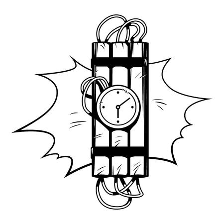 Dinamita en estilo cómic. Ilustración de la vendimia del vector Ilustración de vector