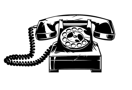 Old telphone in cmic style. Vector vintage illustration Foto de archivo - 110469697