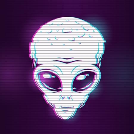 Ilustración de concepto con efecto de falla con cabeza de astronauta. Ilustración digital vectorial